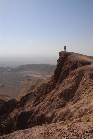 A volunteer on a mountain in Jordan.