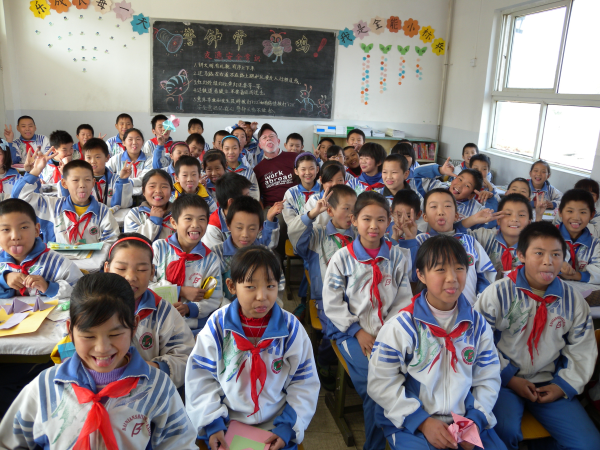 teaching in a classroom in China
