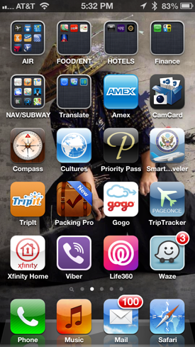 Travel apps on iPhone