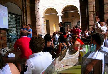 At an outdoor restaurant in Macerata, Italy