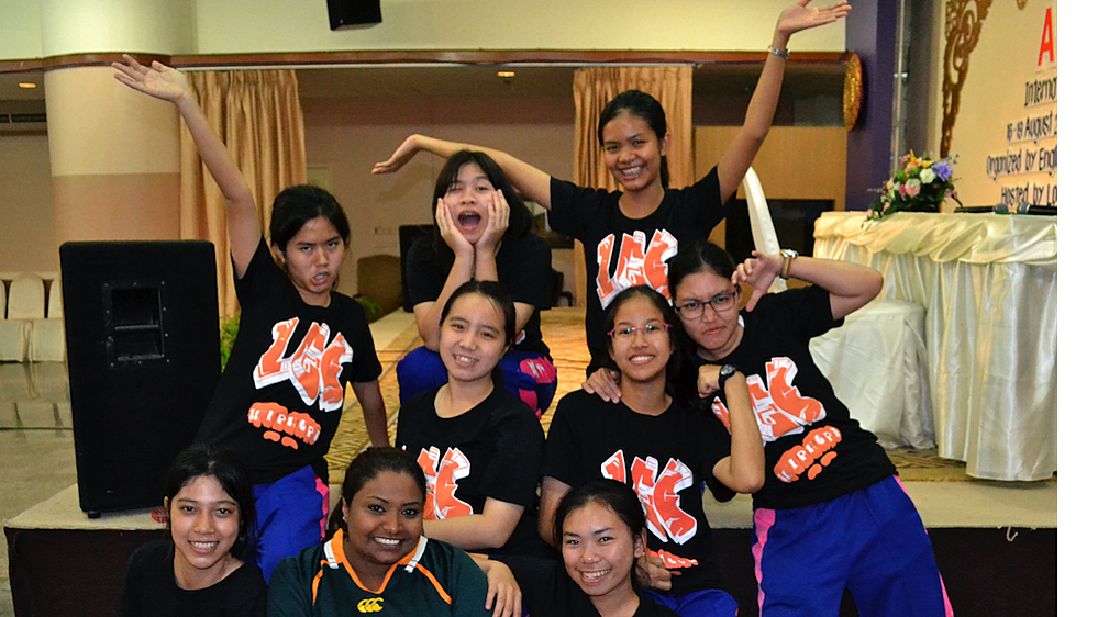 A group of Thai campers at a language camp.