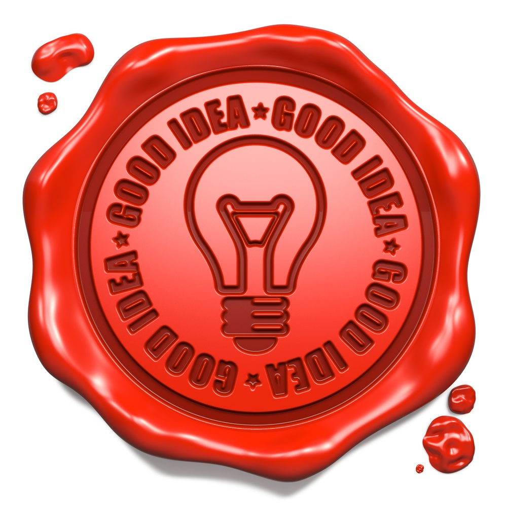 Good Idea Slogan with Light Bulb Icon - Stamp on Red Wax Seal Isolated on White. Business Concept..jpeg