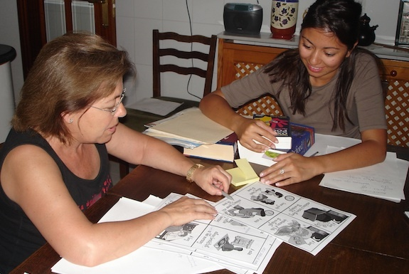 There are opportunities to tutor adults only. Here is a GeoVisions tutor with the host mom.