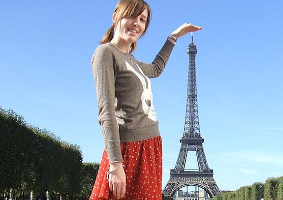 A GeoVisions tutor in France at the Eifel Tower on one of her days off.