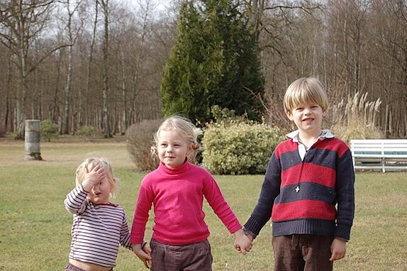Three host siblings in Germany getting ready for their GeoVisions tutor to give them their English lesson for the day.
