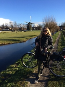 Au Pair Abroad in the Netherlands riding her bicycle.