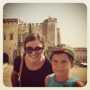 Adrien and Kayla outside the Palais des Papes in Avignon, France
