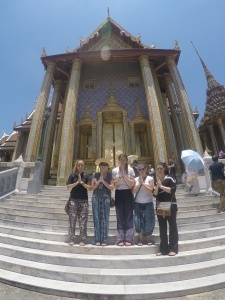 Amanda and her friends visited cultural sites in Thailand on their days off from work