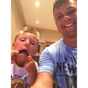 Steven enjoys goofing around with Gherardo while being an au pair in Italy