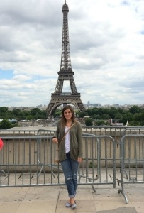 Kayla visited the Eiffel Tower in Paris while working as an au pair in France